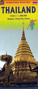 mappa Thailand (Thailandia/Tailandia) con Bangkok, Pattaya, Chiang Mai spiagge, parchi naturali e luoghi panoramici