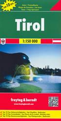 mappa stradale Tirol / Tirolo - con Innsbruck, Merano, Brixen/Bressanone, Kufstein, Bruneck/Brunico, Sterzing/Vipiteno, Wattens, Umhausen, Karvendel, Kitzbühel, Telfs, Landeck, Imst, Reutte, Schwaz, Krimml, Nauders - nuova edizione