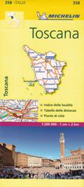 mappa Toscana stradale Michelin n.358 con strade panoramiche, mappe città, indice località ed autovelox aggiornata