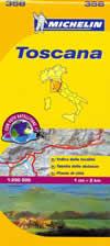 mappa n.358 Toscana con strade panoramiche, indice località ed autovelox 2014