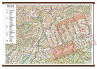 mappa Trentino Alto Adige murale con eleganti aste in legno, scrivibile e lavabile cartografia dettagliata ed aggiornata 96 x 68 cm
