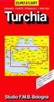 mappa stradale Turchia - con Ankara, Istanbul, Nicosia, Adana, Antalya, Izmir, Kayseri e Trabzon - edizione 2013
