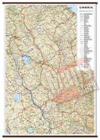 mappa Umbria murale con eleganti aste in legno, scrivibile e lavabile cartografia dettagliata ed aggiornata 60 x 86 cm