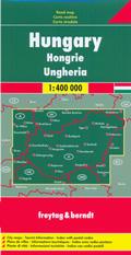 mappa stradale Ungheria - con Budapest, Debrecen, Miskolc, Szeged (Seghedino), Pécs (Cinquechiese), Győr, Nyíregyháza, Kecskemét, Székesfehérvár (Albareale), Eger, Esztergom (Strigonio) - edizione 2015