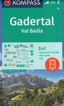 mappa n.51 Val Badia / Gadertal Corvara, Passo Gardena, Gruppo del Sella, San Martino, Luson, Brunico, Valdaora, Pian de Corones, Parco Naturale Fanes Senes Braies, Le Tofane, Falzarego plastificata, compatibile con GPS 2020