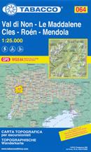 mappa n.064 Val di Non, Le Maddalene, Cles, Roen, Mendola, Tovel, Tuenno, Predaia, Sole, Romeno, Cavareno, Novella, Fondo, Proves, Bresimo, S. Felice, Passo Palade, M. Luco, Rabbi compatibile con GPS