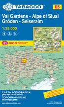 mappa n.005 Val Gardena / Gröden, Alpe di Siusi Seiseralm, Ortisei St. Ulrich, S. Cristina, Sciliar, Sella, Canazei, Puez, Funes con reticolo UTM compatibile GPS 2021