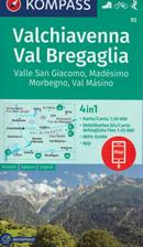 mappa n.92 Valchiavenna, Val Bregaglia, Madesimo, Masino, Passo Spluga, Novate Mezzola, Morbegno, Juf, Avers, del Maloggia, Valle San Giacomo plastificata, compatibile con sistemi GPS 2020