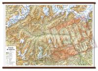 mappa Valle d'Aosta murale con cartografia dettagliata ed aggiornata plastificata, eleganti aste in legno 99 x 67 cm 2021