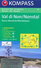 mappa n.95 Valle di Non/Nonstal, Passo Mendola/Mendelpass, Parco Naturale Adamello Brenta, Cles, Val Sole, Malè, Rabbi, Ultental, d'Ultimo, Terlano, Caldaro, Nonsberge, Salorno, Mezzolombardo compatibile con GPS + panoramica