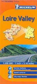mappa n. 517 Valle Loira / Pays de la Loire Valley con Nantes, Roche sur Yon, Les Sables d'Olonne, Île d'Yeu, Fontenay le Comte, Noirmoutier, Saint Nazaire, Cholet, Ancenis, Châteaubriant, Segré, Château Gontier, Laval, Mayenne, Alençon, Mamers, Mans, Flèche, Angers, Saumur stradale stazioni di servizio e autovelox