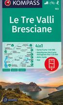 mappa n.103 Le Tre Valli Bresciane, Darfo Boario Terme, Bovegno, Lago d'Idro, Breno, Bagolino, Anfo, Barghe, Vestone, Gardone Valtrompia, Marone, Azzone, Lovere plastificata, con sentieri CAI, percorsi MTB 2020