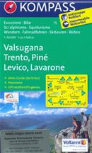 mappa n.75 Valsugana, Trento, Piné, Levico Terme, Lavarone, Pergine, Borgo Lago di Caldonazzo, Castello Tesino, Cima Dodici/Ferozzo, M. Verena, Luserna, d'Asta, Mezzocorona, Lavis plastificata, compatibile con GPS + panoramica 2014