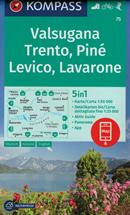 mappa n.75 Valsugana, Trento, Piné, Levico Terme, Lavarone, Pergine, Borgo Lago di Caldonazzo, Castello Tesino, Cima Dodici/Ferozzo, M. Verena, Luserna, d'Asta, Mezzocorona, Lavis plastificata, compatibile con GPS + panoramica 2020