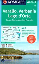 mappa n.97 Varallo, Verbania, Lago d'Orta, Parco Nazionale Val Grande, Domodossola, Villadossola, Malesco, Omegna, Maggiore, Arona, Borgomanero, Borgosesia, Grondo plastificata, compatibile con GPS 2019