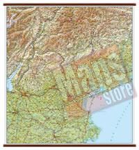 mappa Veneto murale con eleganti aste in legno, scrivibile e lavabile cartografia dettagliata ed aggiornata 96 x 86 cm