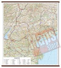 mappa Veneto murale con eleganti aste in legno cartografia dettagliata ed aggiornata 96 x 86 cm