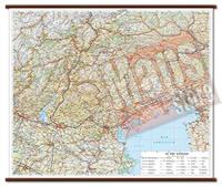 mappa Le Tre Venezie murale con cartografia dettagliata ed aggiornata plastificata, eleganti aste in legno 86 x 72 cm 2021