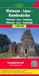 mappa Vietnam, Laos, Cambogia con Hà Noi, Ho Chí Minh (Sài Gòn), Da Nang, Huè, Haiphong, Hai Phong, Phnom Penh, Luang Prabang, Vat Phu, Vientiane, Vang Vieng, Nam U, Phongsaly, Namtha 2014