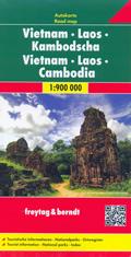 mappa Vietnam, Laos, Cambogia con Hà Noi, Ho Chí Minh (Sài Gòn), Da Nang, Huè, Haiphong, Hai Phong, Phnom Penh, Luang Prabang, Vat Phu, Vientiane, Vang Vieng, Nam U, Phongsaly, Namtha 2019