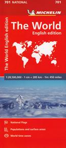 mappa n.701 The World / Il Mondo planisfero carta geografica del politica con bandiere, informazioni sul clima, popolazione, fusi orari e sezione dei poli