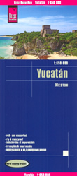 mappa Yucatan con Cancun, Merida, Playa del Carmen, Chetumal impermeabile e antistrappo 2017