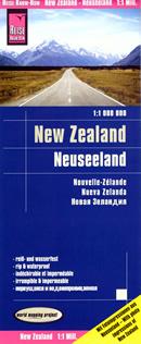 mappa Zelanda con spiagge, stazioni sciistiche, parchi nazionali, campeggi impermeabile e antistrappo 2019